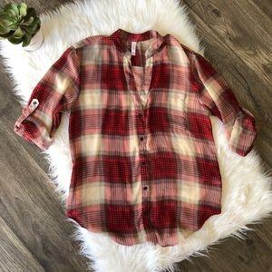 Xhileration sheer plaid blouse